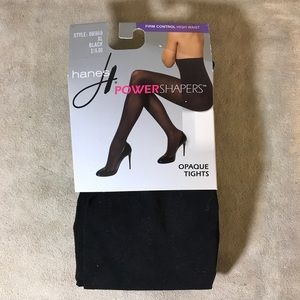 1 Pair Hanes Firm Control Tights Black Size XL